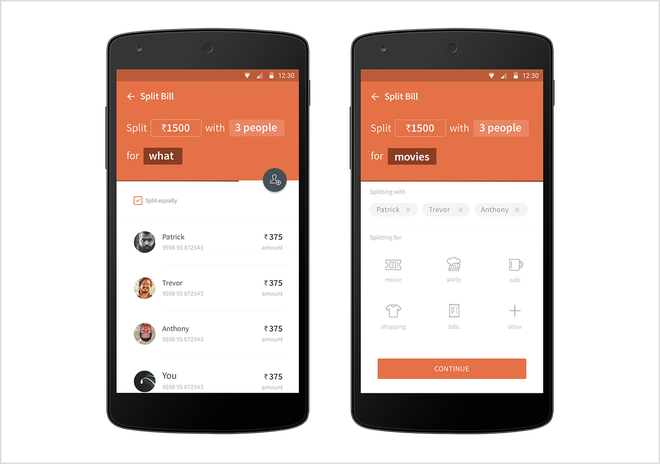 Freecharge split bill - notification sent selected persons